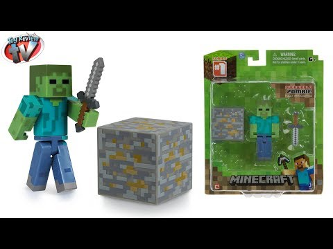Minecraft Overworld Zombie Action Figure Toy Review. Jazwares