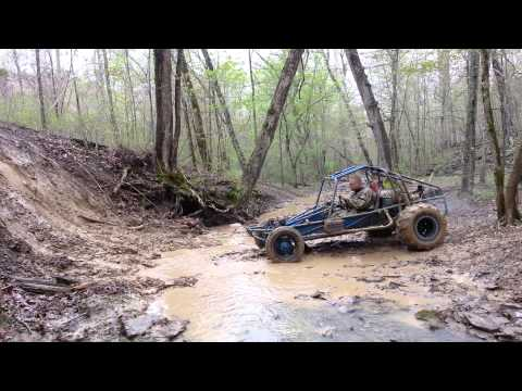 Rail buggy hits wildcat bank @ Mud Madness