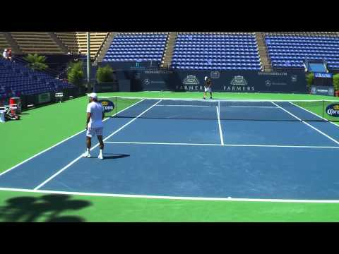 07 24 2011 Fernando Gonzales practice match with Robby Ginepri