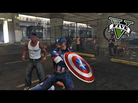 GTA V PC MODS - CAPITAN AMERICA en EL CLUB DE LA LUCHA !! - ElChurches
