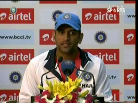 INDIA CAPTAIN MAHENDRA SINGH DHONI PRESS CONFERENCE AT MOHALI AFTER WINNING SERIES