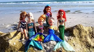 MERMAID tails ! Elsa and Anna toddlers at beach - Ariel - sand - swim - floatie - water fun - splash