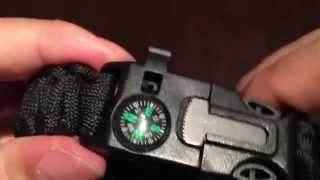 550 paracord outdoor survival bracelet with whistle, compass, and fire starter by Sahara Sailor