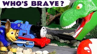 Thomas The Train and Paw Patrol - Who's brave Rescues with a giant Dinosaur and a Robot TT4U