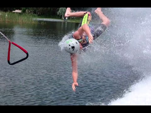 40 mph faceplants while Barefoot Waterskiing!