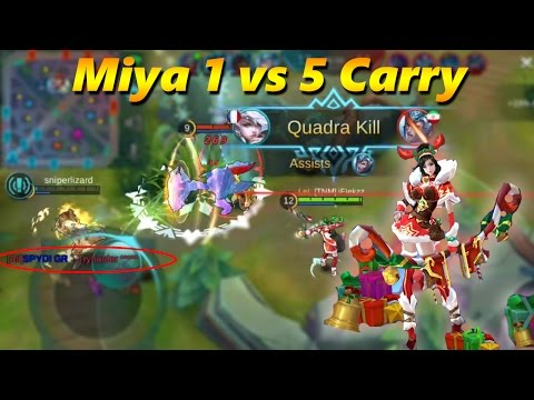 MIYA 1 VS 5 CARRY - CHRISTMAS SKIN GAMEPLAY - Mobile Legends