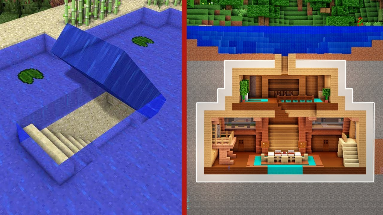 Minecraft: How to Build An Underwater Secret Base Tutorial (#2) - (Hidden House)
