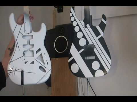 HOW TO PAINT A BLACK AND WHITE EVH VAN HALEN FRANKENSTRAT-PULLING THE TAPE PART 3