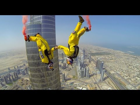 Skydive Dubai sponsored Soul Flyers World Champions Vince Reffet and Fred Fugen break a new World Record by BASE jumping from above the pinnacle of the World...