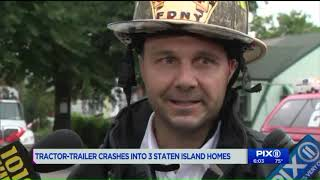 Tractor-trailer crashes into three Staten Island houses; two injured: FDNY