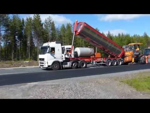 Paving with Vögele Super 1800-2 with SprayJet-modul Tracked Paver and Volvo FH