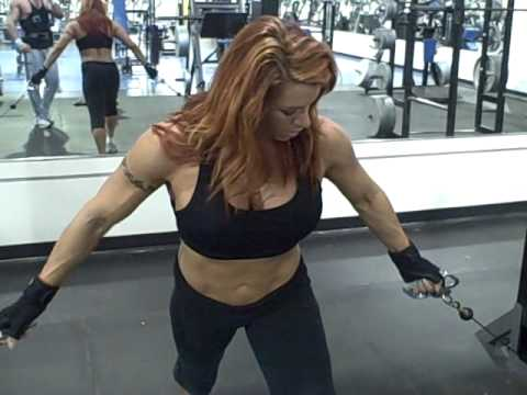 NPC Figure Competitor & Pro Wrestler April Hunter Training Bi's For Jr Nationals-5 weeks out Video