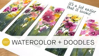 how to paint and doodle loose florals + minimize paper buckling (beginner level)