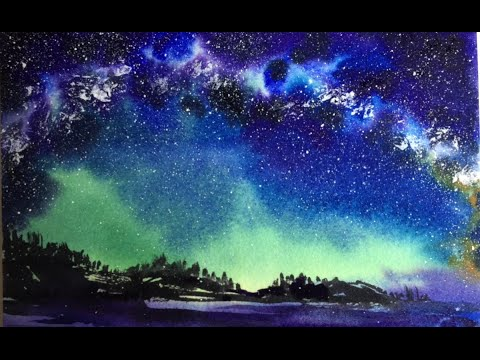 Watercolor Milky Way Sky Painting Demonstration