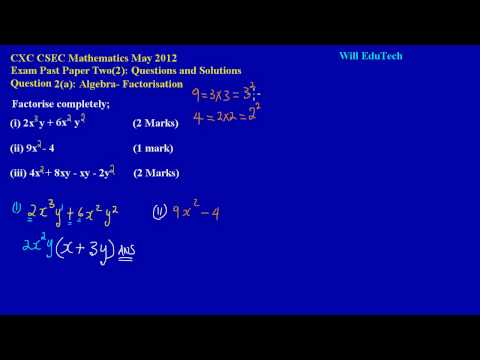 CSEC CXC Maths Past Paper 2 Question 2a May 2012 Exam Solutions (Answers)_ by Will EduTech