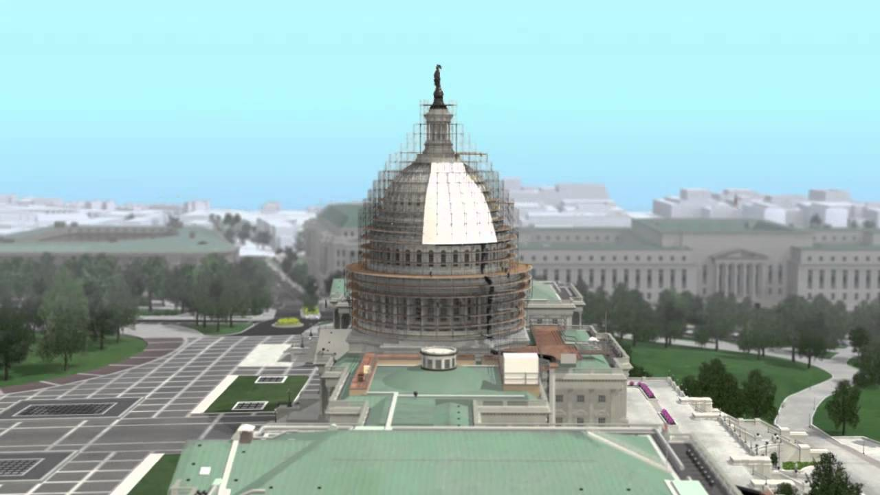 Capitol Building Scaffolding : Animated rendering of dome restoration project scaffolding