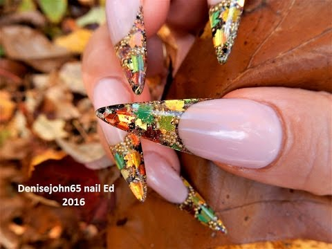 Leaf Nails -------------Encapsulated LEAF Spangles -----Happy Thanksgiving