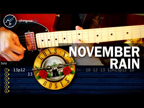 Como tocar November Rain GUNS N´ROSES en Guitarra HD Tutorial PARTE 1
