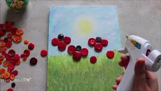 Button painting poppy flower: Fun summer crafts for kids