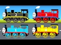 LEARN COLORS w Thomas Train in Cartoon for Children - Trains For Kids - Car Parking Learning Video