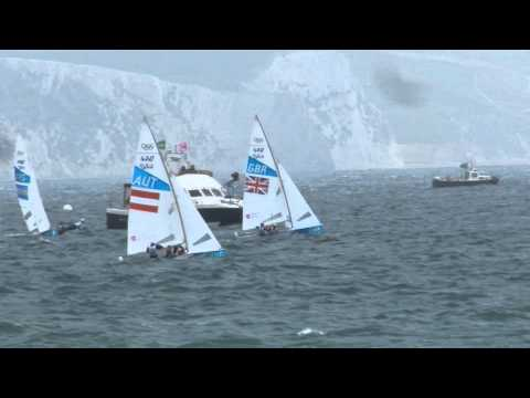 Great Britain versus Austria, 2012 Olympics sailing events - Mens 470 Race 1
