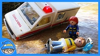 Playmobil ambulance toy. Rescue people in the mud. Fire truck Police car toy