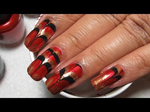 Christmas Inspired Skyfall Water Marble Nail Art Tutorial
