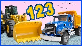 Funny Clown Bob | Construction vehicles Bulldozer & Dump Truck Learning 123 Numbers | Video for kids