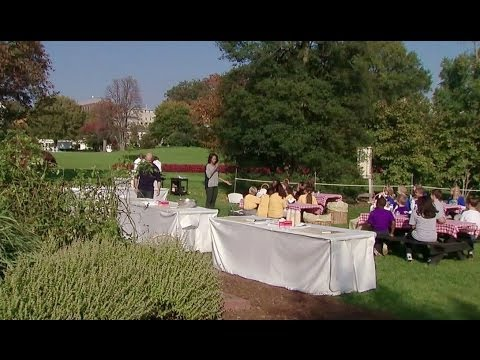 First Lady Michelle Obama Speaks at the White House Kitchen Garden Fall Harvest