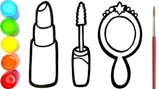 Glitter Lipstick Mascara And Mirror Drawing Coloring And Painting For Kids