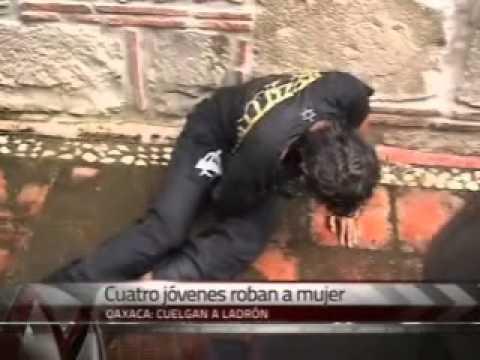 Cuelgan a ladrón en Oaxaca