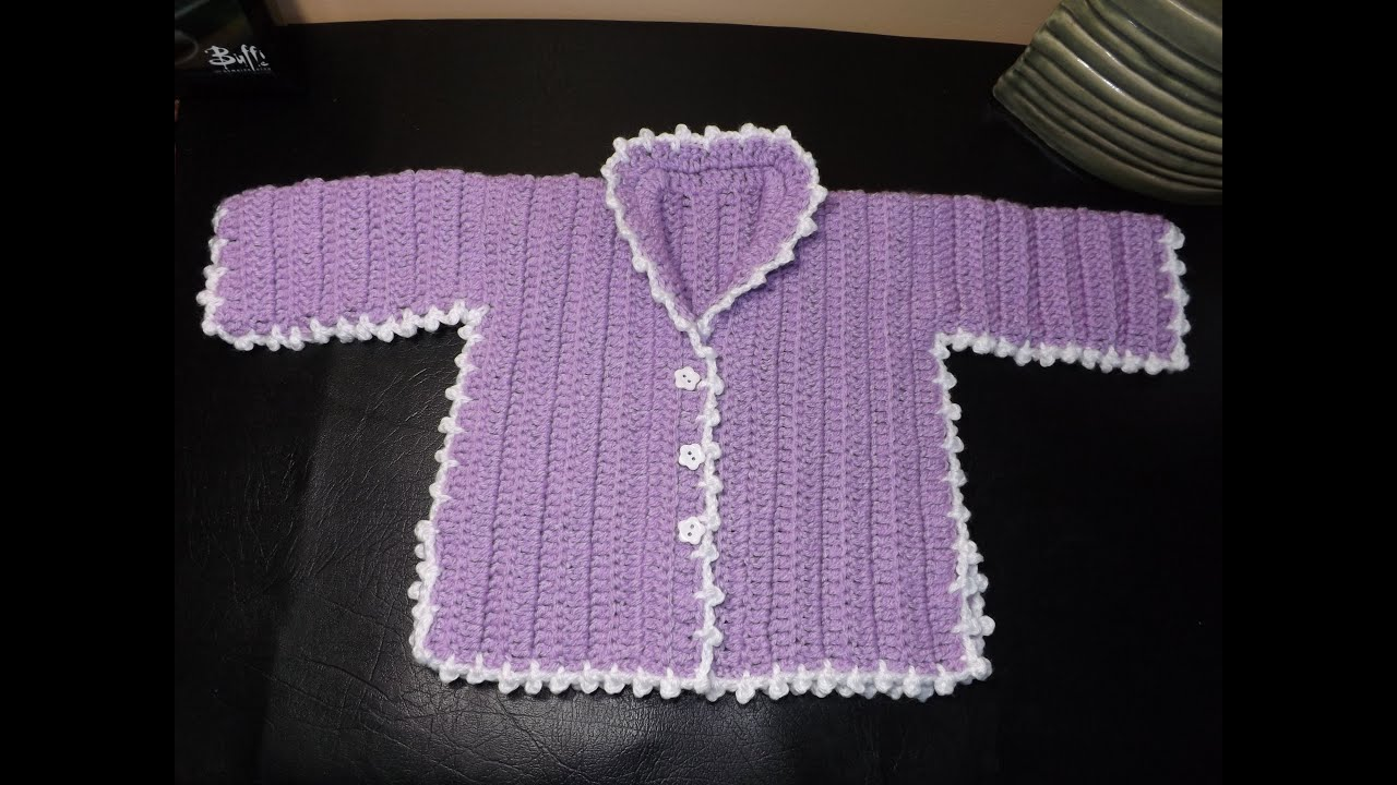 How to Crochet a Baby Sweater Lilac - YouTube