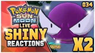 2 LIVE SHINY GASTLY'S BACK TO BACK! Pokémon Sun and Moon Shiny Hunting Reaction