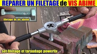 réparer le filetage vis abîmée tige filetée - set filetage taraudage lidl powerfix