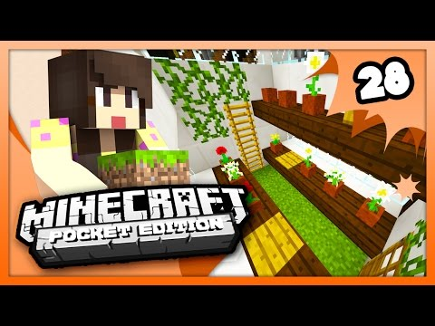 Minecraft PE (Pocket Edition) - GREENHOUSE! - Survival Let's Play Ep. 28