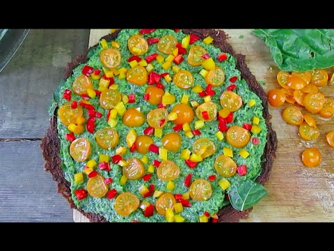 Raw Vegan Pizza With Smoky Tomato Crust & Basil Pesto