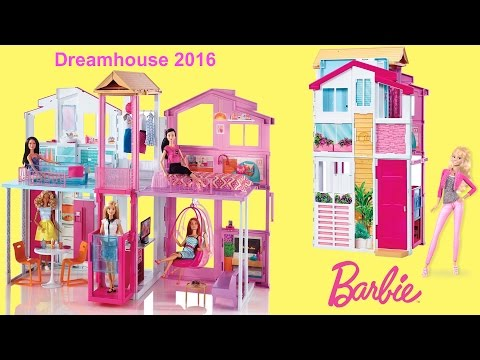 Barbie Dreamhouse 2016 - 3-Story Townhouse Unboxing and Full house tour with Barbie Dolls