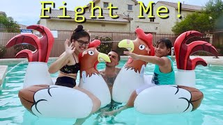 Hilarious Family Chicken Fight At The Pool!