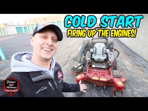 Cold Starting The Engines, Unboxing 2 New Blowers! + Dead Lawn Mower Battery?