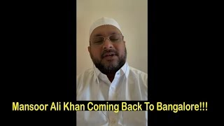 IMA:Mansoor Khan Coming Back To Bangalore!! Video Clip!!