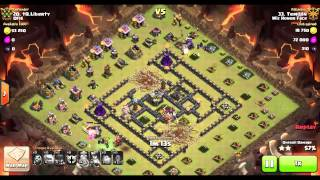 8 Quake, 5 Golem GoWiWi on Popular TH9 War Base - Four Corners