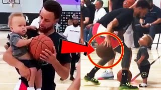 Stephen Curry teaches his 1-year old son Canon Curry how to dribble!