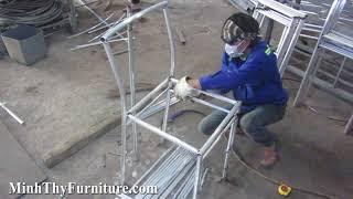 Hướng dẫn cách ra mẫu khung nhôm ghế quầy bar nhựa giả mây