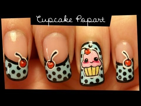 Cupcake Popart nail art (no stickers) Music Videos