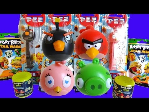 Angry Birds Surprise Eggs, Mash'ems, Blind Bags, & Pez Dispensers! video