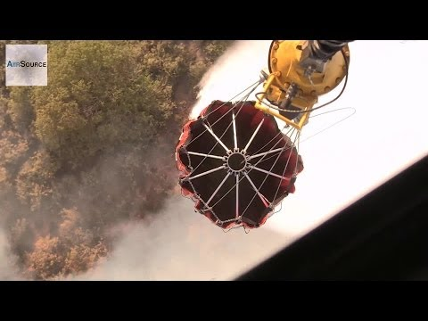 Bambi Bucket Water Drop, Aerial Firefighting - California Fires 2014 | AiirSource