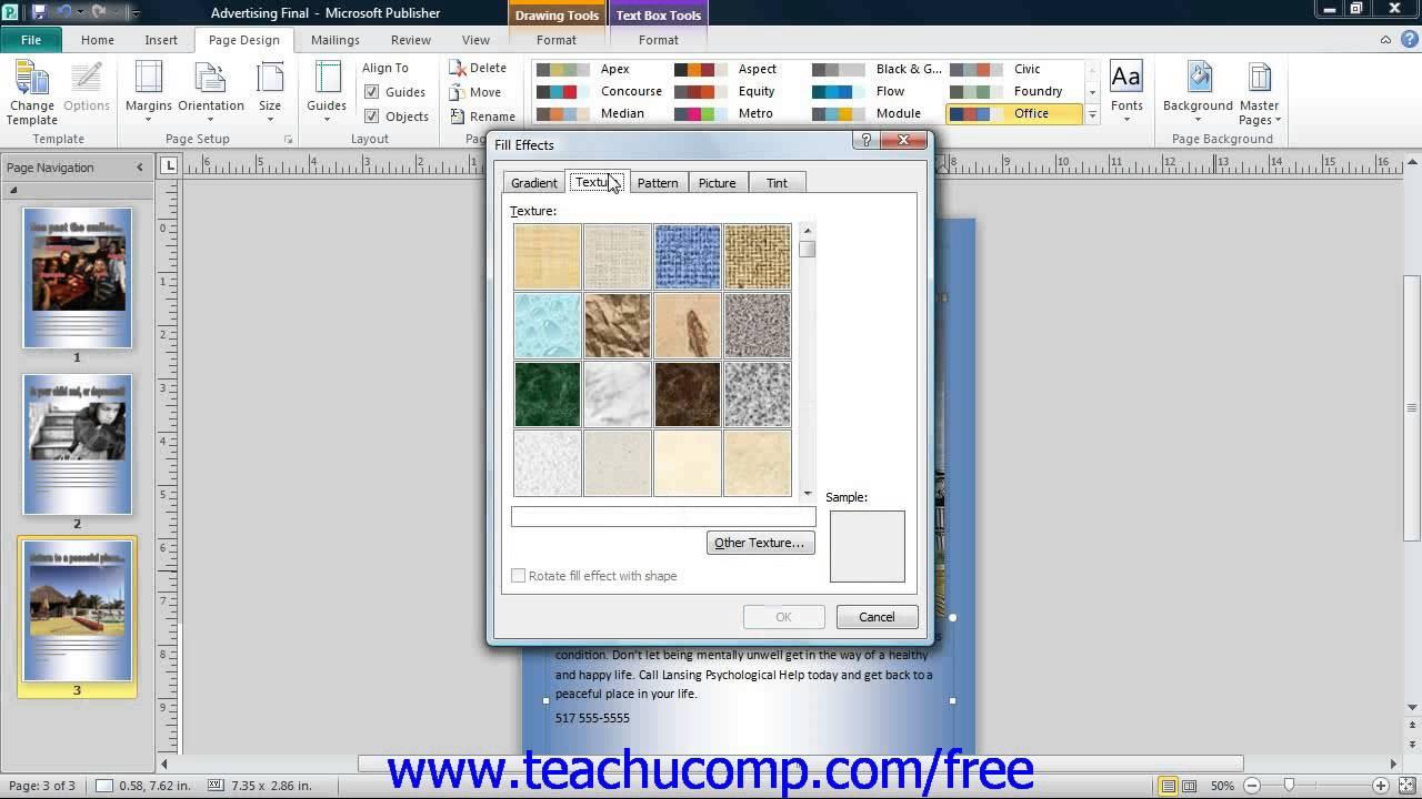 publisher 2010 tutorial customizing page backgrounds