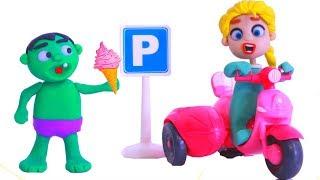 FROZEN ELSA HAS A NEW MOTORBIKE ❤ Hulk & Frozen Elsa PlayDoh Cartoons For Kids