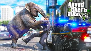 I played as an Elephant... Cops got MAD!! (GTA 5 Mods - Evade Gameplay)