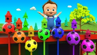 Little Baby Learning Colors for Children with Color Soccer Balls Wooden Pecker Toy Set 3D Kids Edu